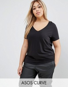 Свободная футболка с V-образным вырезом ASOS CURVE Ultimate - Черный