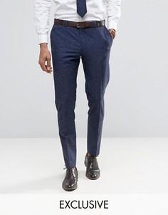 Узкие свадебные брюки из ткани с добавлением льна в крапинку Noak - Темно-синий
