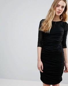 Присборенное облегающее платье Ganni - Черный