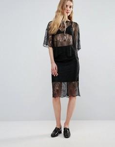 Кружевная юбка Ganni California - Черный