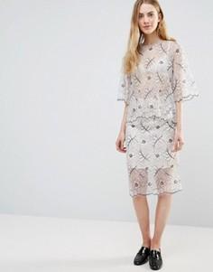 Кружевная юбка Ganni California - Белый