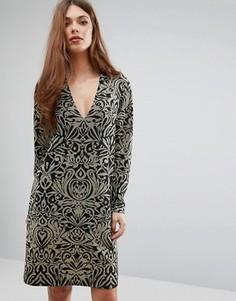 Платье с длинными рукавами и блестящим принтом Ganni Schiffer - Золотой