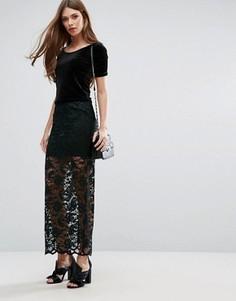 Прозрачная кружевная юбка макси с подкладкой Ganni Flynn - Зеленый