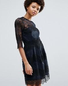 Кружевное платье колор блок Ganni Parker - Темно-синий