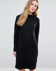 Цельнокройное платье с высоким воротом Ganni Perry - Черный