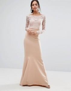 Платье макси с кружевным топом и бантом сзади City Goddess - Розовый