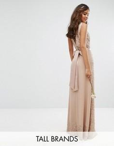 Декорированное платье макси с бантом сзади Maya Tall - Розовый