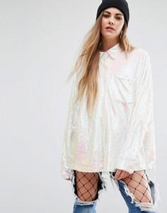 Oversize-рубашка с пайетками Mad But Magic - Белый