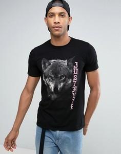 Футболка с принтом волка Hype - Черный