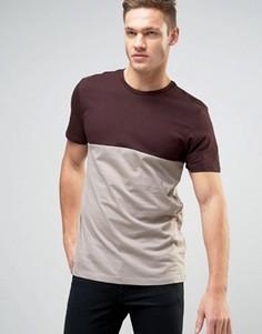 Темно-бордовая футболка в стиле колор блок New Look - Красный