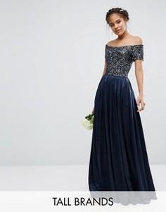 Платье макси с декорированным пайетками лифом Maya Tall - Темно-синий