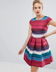 Короткое приталенное платье в полоску с пышной юбкой Ted Baker - Мульти
