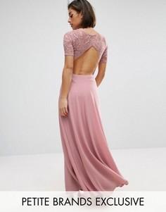 Платье макси с кружевным лифом и вырезами John Zack Petite - Розовый