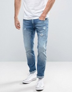 Светлые узкие джинсы с рваной отделкой Replay Anbass - Синий