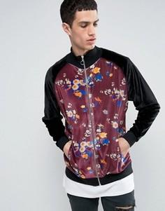 Свободная спортивная куртка из велюра с цветочным принтом ASOS - Черный