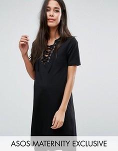 Платье-футболка для беременных со шнуровкой ASOS Maternity - Черный