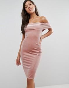 Бархатное платье с открытыми плечами Rare London - Коричневый