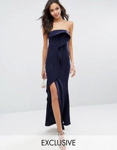 Платье-бандо макси с оборкой спереди Jarlo - Темно-синий