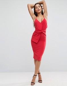 Облегающее платье миди с большим бантом спереди ASOS - Розовый