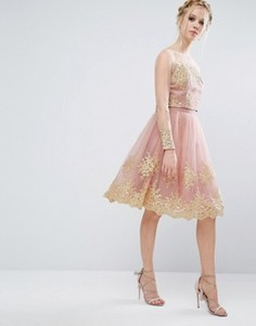 Кружевная юбка миди с вышивкой металлик Chi Chi London Premium - Розовый