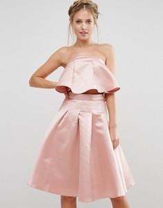 Комбинируемый атласный кроп-топ Chi Chi London - Розовый