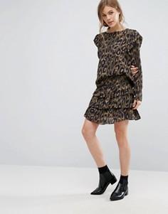 Юбка с леопардовым принтом и оборками Vero Moda - Коричневый