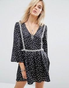Платье с принтом звезд Chandelier - Черный