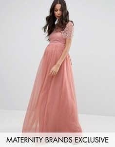 Платье макси для беременных с кружевным лифом Little Mistress Maternity - Розовый