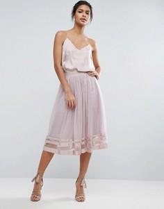 Юбка миди из тюля с полупрозрачной вставкой Little Mistress - Розовый