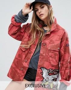 Куртка в стиле милитари с нашивками Reclaimed Vintage - Красный