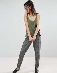 Строгие брюки из ткани с добавлением льна Only - Серый