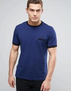Темно-синяя футболка из пике с контрастной отделкой Fred Perry - Темно-синий