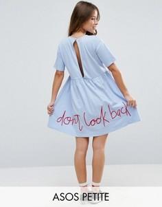 Свободное платье с вышивкой сзади ASOS PETITE - Синий