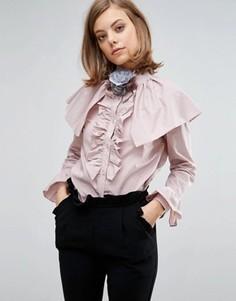 Блузка с оборками и отделкой на плечах Sister Jane - Розовый