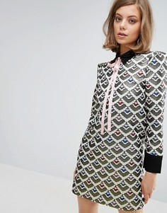 Жаккардовое цельнокройное платье с бантом Sister Jane - Мульти