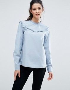 Блузка с оборками на горловине Vero Moda - Синий