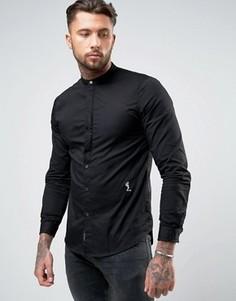 Черная классическая рубашка на пуговицах