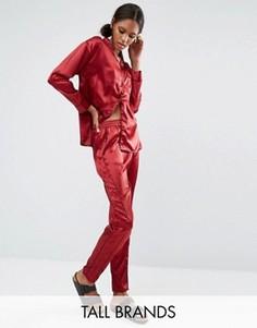 Комбинируемые брюки в пижамном стиле с окантовкой Daisy Street Tall - Красный