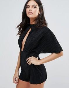 Плиссированный комбинезон с рукавами-кимоно Love - Черный