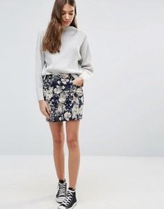 Мини-юбка с цветочным принтом Brave Soul - Синий