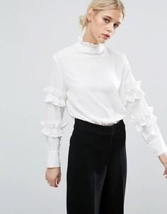 Блузка с высокой горловиной и рюшами Zacro - Белый