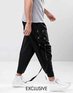 Свободные брюки со шнуровкой из ленты Reclaimed Vintage - Черный