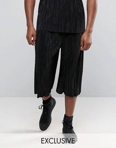 Широкие плиссированные брюки Reclaimed Vintage - Черный