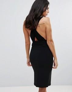 Платье-футляр с глубоким вырезом и ремешками на спине Love - Черный