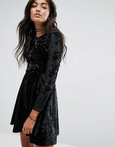 Приталенное бархатное платье Daisy Street - Черный