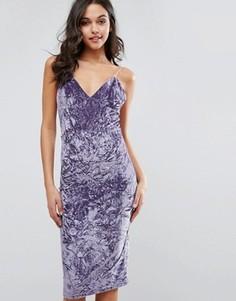 Платье миди из мятого бархата Club L - Фиолетовый