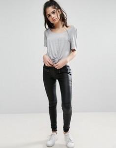 Байкерские брюки с покрытием Only Natalie - Черный