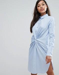 Хлопковое платье-рубашка с перекрученным дизайном Lavish Alice - Синий