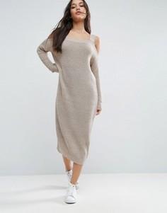 Вязаное платье миди с вырезами на плечах ASOS - Бежевый