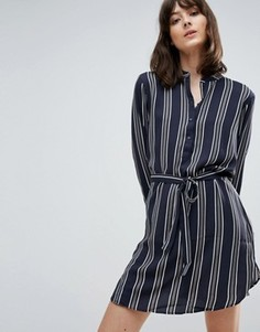 Платье-рубашка в полоску с поясом JDY Janey - Темно-синий